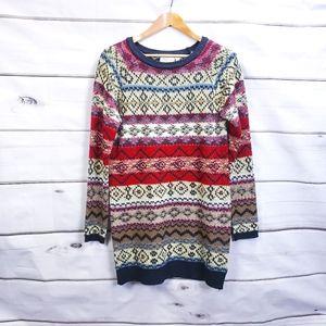RD Style Fair Isle Knit Sweater Dress Tunic Cozy Winter Loungewear Stripe